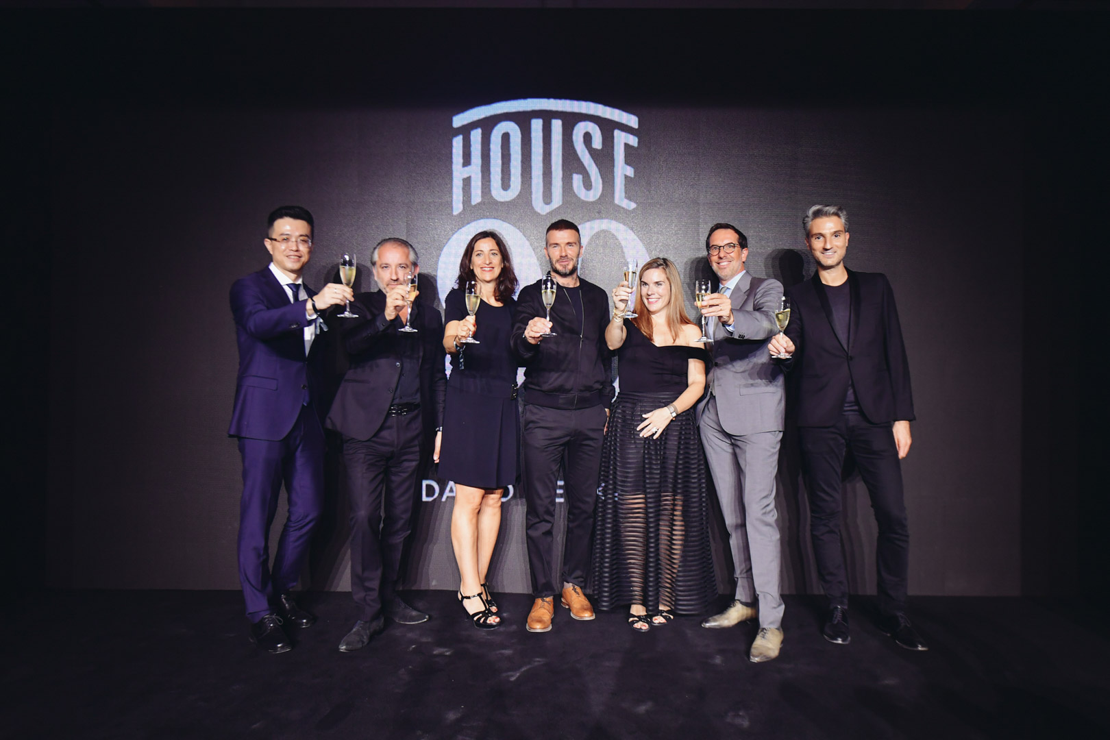 English Chinese interpreting service for House 99 product launch - group photo with Beckham