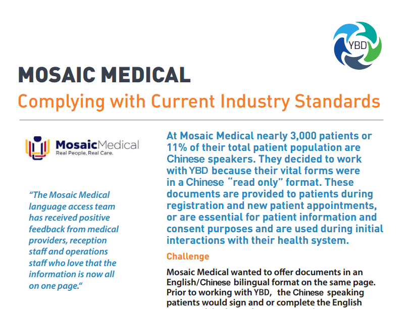 Chinese Translation Services Case Study - MOSAIC MEDICAL